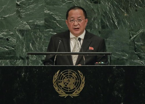 North Korea Minister for Foreign Affairs Ri Yong Ho speaks during the 72nd session of the United Nations General Assembly, Saturday, Sept. 23, 2017 at United Nations headquarters. (AP Photo)