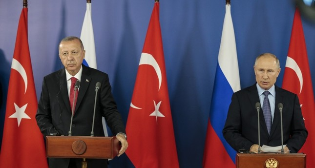 President Recep Tayyip Erdoğan (left) attends joint news conference with Russian Counterpart Vladimir Putin in Moscow on Tuesday Aug. 27, 2019 (AA Photo)