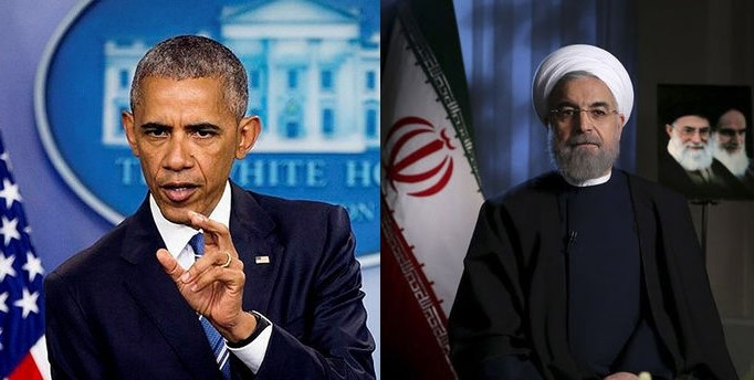 The former U.S. President Barack Obama and Iranian President Hassan Rouhani.