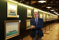 Paintings of Turkish-flagged steamers on display at Rahmi M. Koç Museum