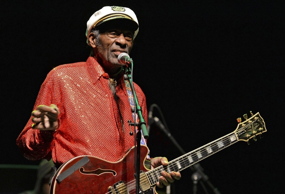 Photo shows legendary U.S. singer and composer Chuck Berry, one of the pioneers of rock-and-roll, performing at a concert in Montevideo.