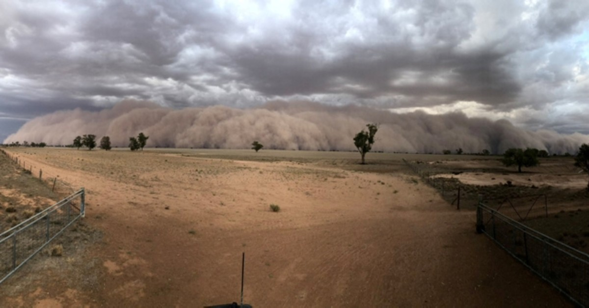 A dust storm approaches a farm, northwest of Dubbo, New South Wales, Australia in January 19, 2020 picture obtained from social media. (Jason Herbig via Reuters)
