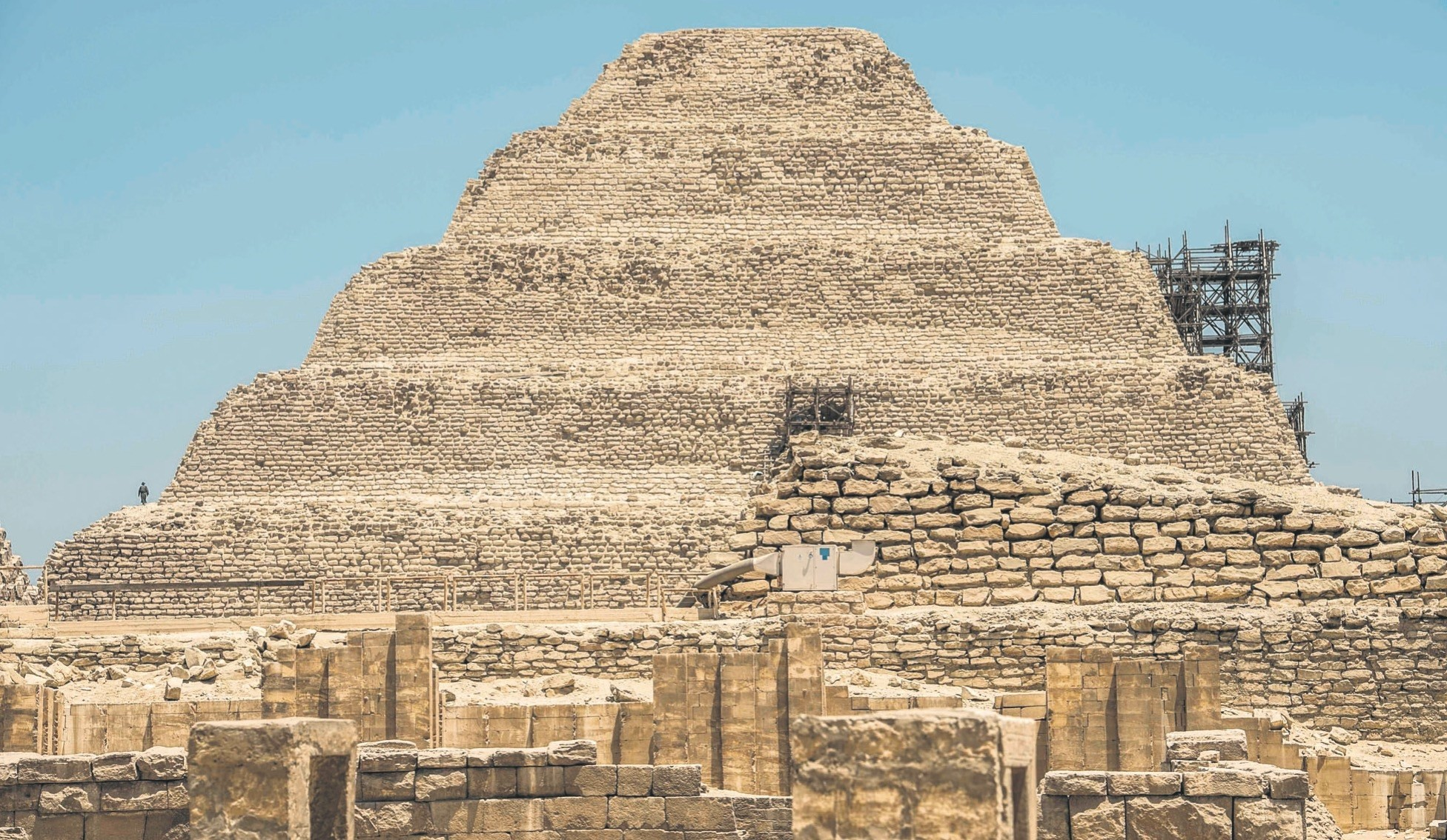 A view of the Djoser, or Zoser, step pyramid in the Saqqara necropolis.