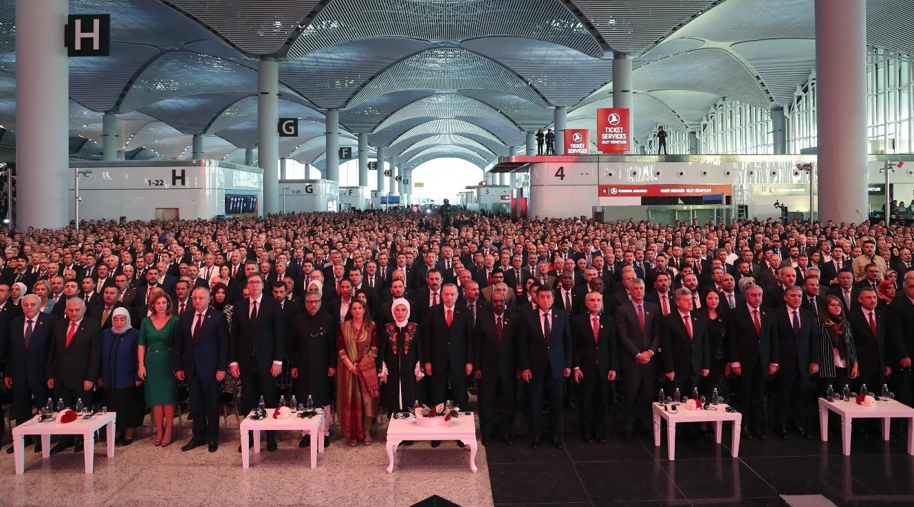 President Recep Tayyip Erdou011fan, Turkish authorities and heads of states from around the world participated in the grand opening ceremony of the Istanbul Airport, Oct. 29.
