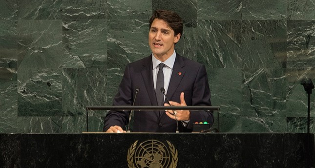 Canadian Prime Minister Justin Trudeau addresses the United Nations General Assembly, at U.N. headquarters, Thursday, Sept. 21, 2017 (AP Photo)