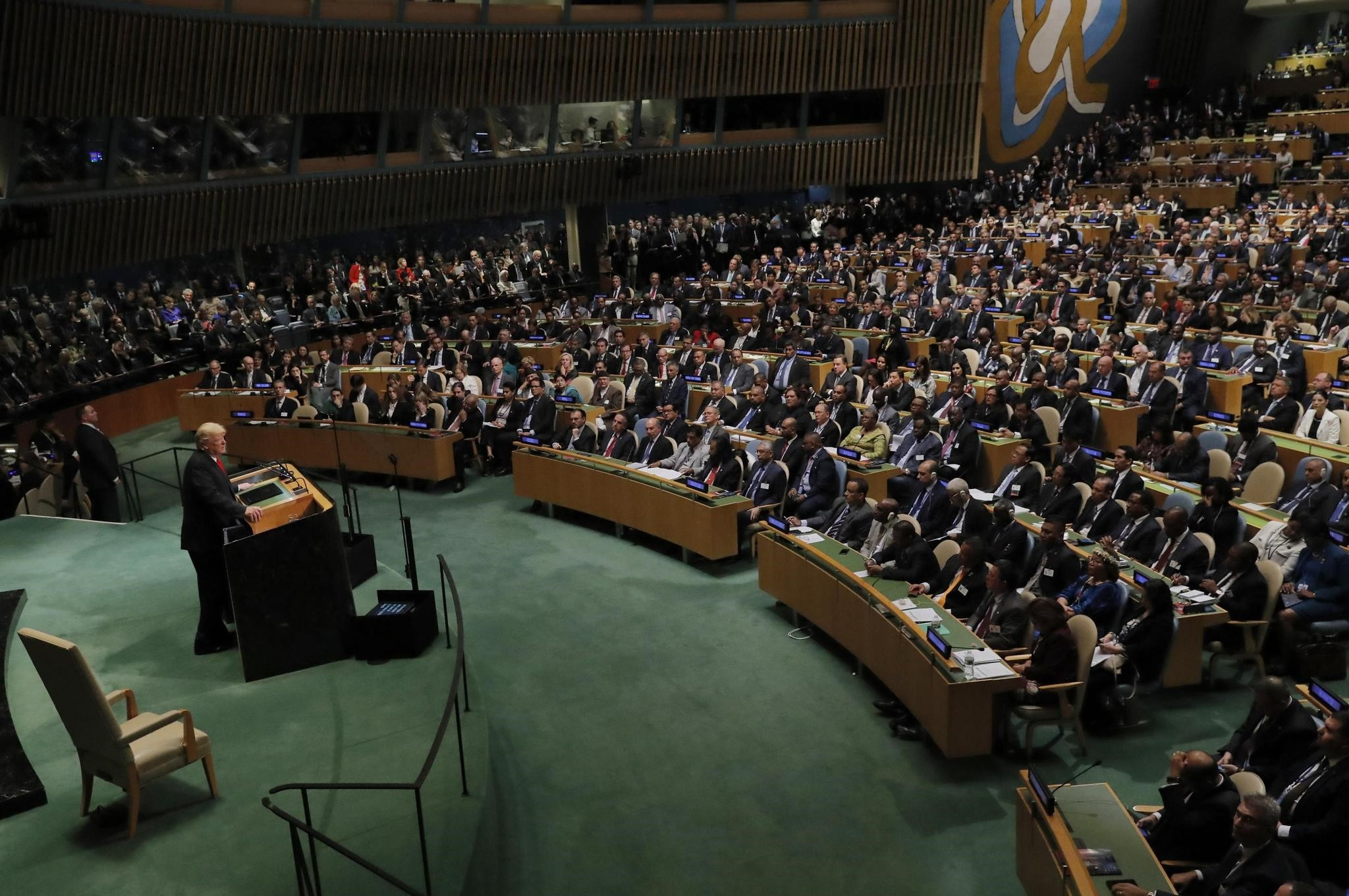 U.S. President Donald Trump addresses the 73rd session of the U.N. General Assembly in New York, Sept. 25.