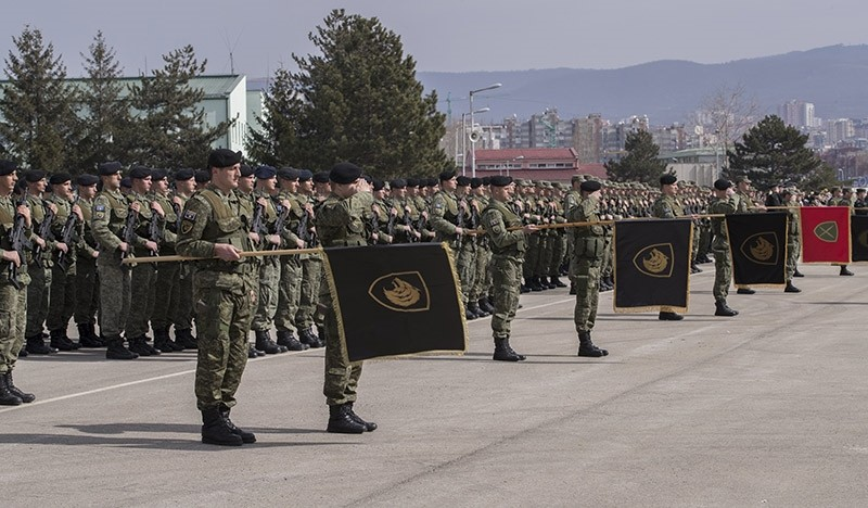 A photograph made available on March 8 and dated March 5, 2017 shows members of Kosovo Security Force attending the ceremony to mark the 19th anniversary of Kosovo Liberation Army Commander Adem Jashari death, in Pristina, Kosovo. (Photo via EPA)