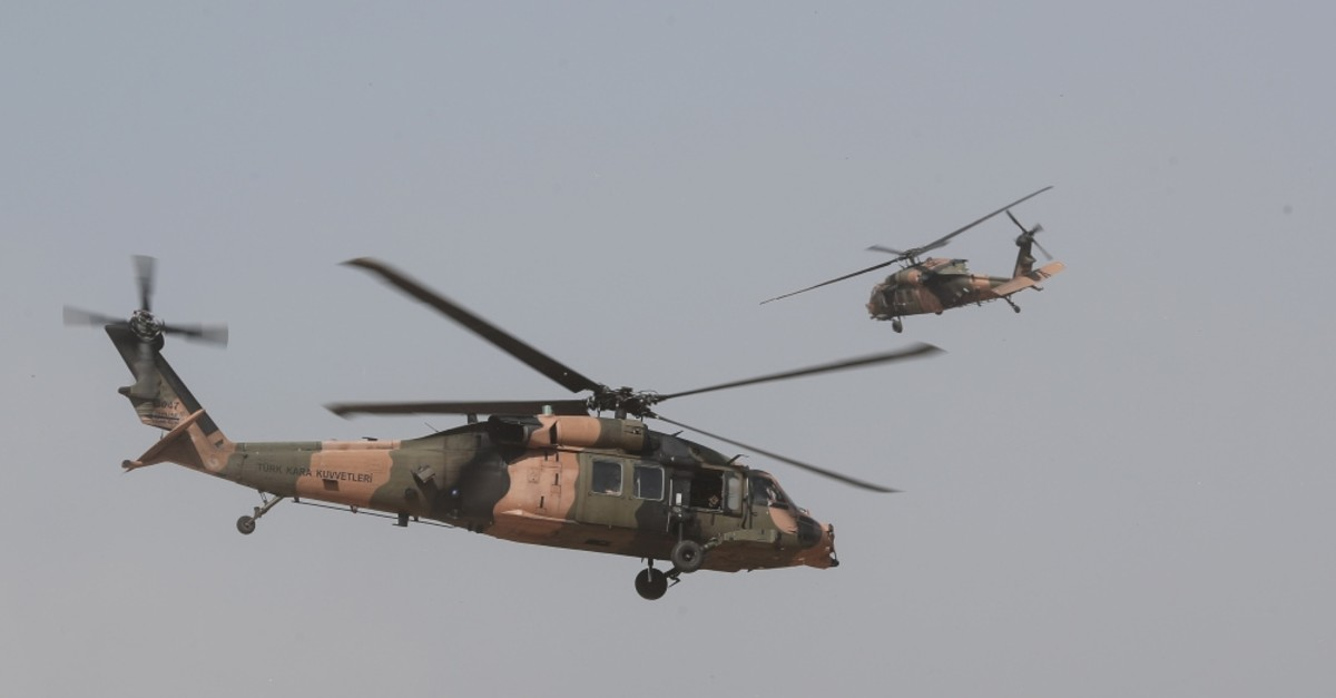 Turkish helicopters conducted patrols along the Syrian border, with the participation of U.S. soldiers, Aug. 29, 2019.