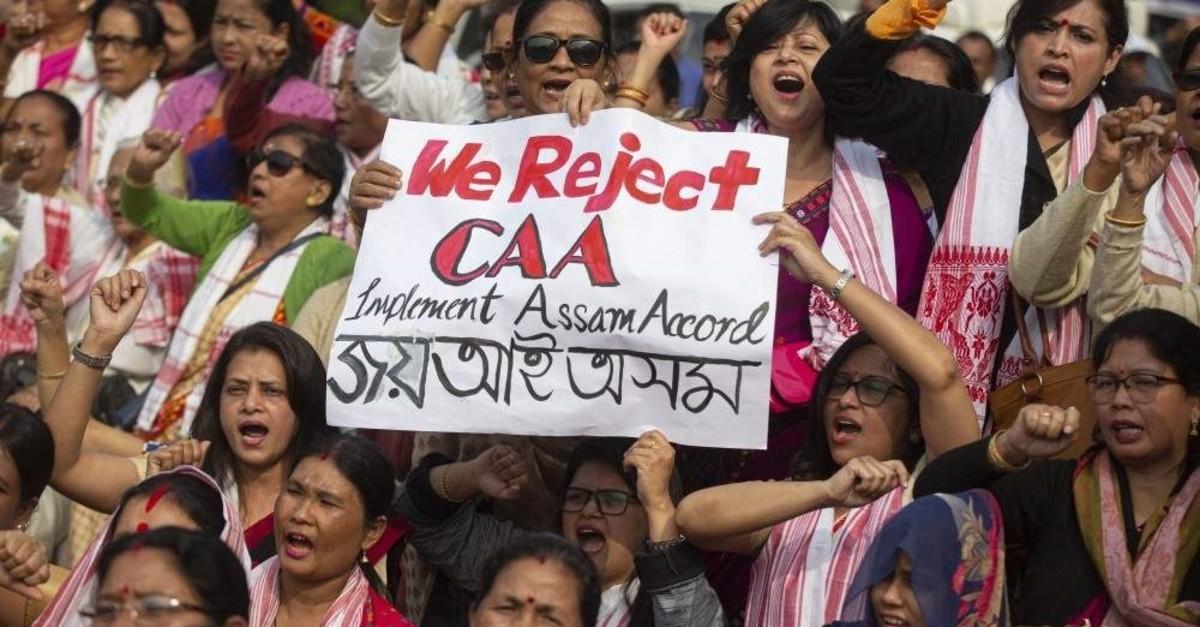 Indian women shout slogans during a protest against the Citizenship Amendment Act, Gauhati, Dec. 21, 2019. (AP Photo)