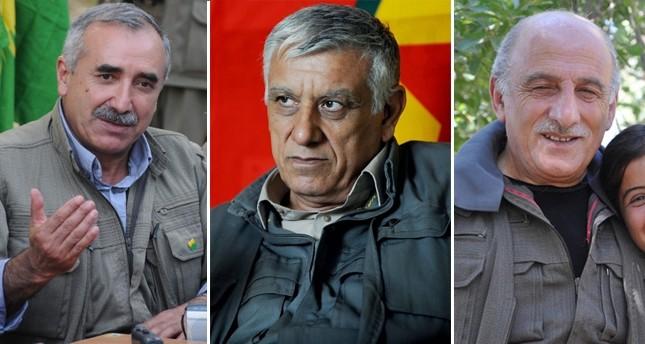 Acting PKK leader Murat Karayu0131lan (L), founding member Cemil Bayu0131k (C) and senior leader Duran Kalkan (R)