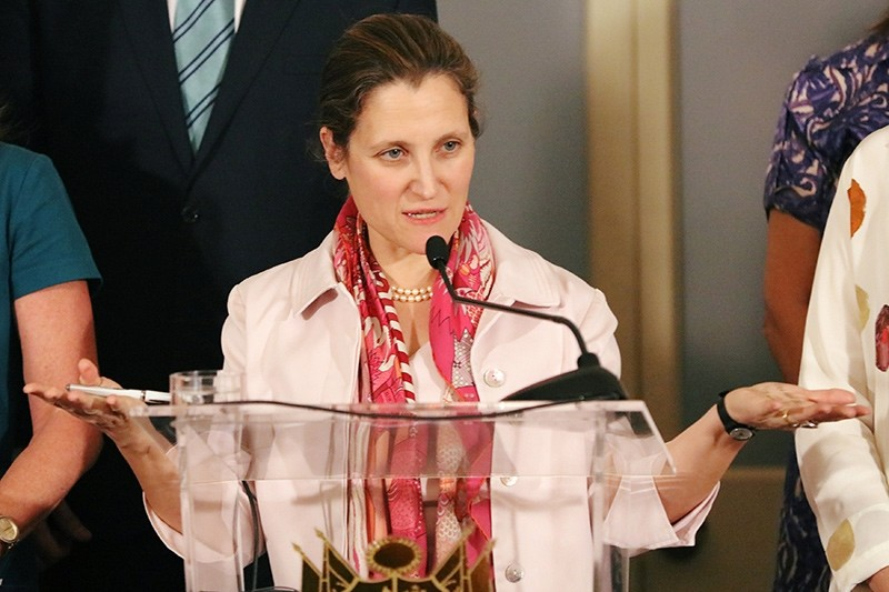 Canada's Foreign Minister Chrystia Freeland, speaks at news conference after a meeting to discuss elections in Venezuela, in Lima, Peru (Reuters Photo)