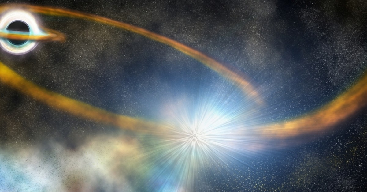a star is torn apart into a thin stream of gas, which is then pulled back around the black hole and slams into itself, creating a bright shock and ejecting more hot material, in this artist's conception released on September 26, 2019 (Reuters Photo)