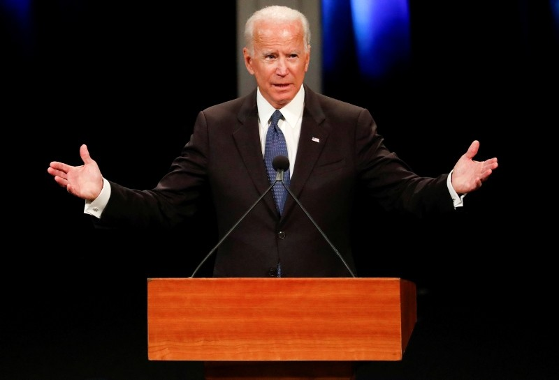 Former U.S. Vice President Joe Biden gives a tribute during a memorial service for Senator John McCain at North Phoenix Baptist Church, Phoenix, Arizona, U.S., August 30, 2018. (Reuters Photo)