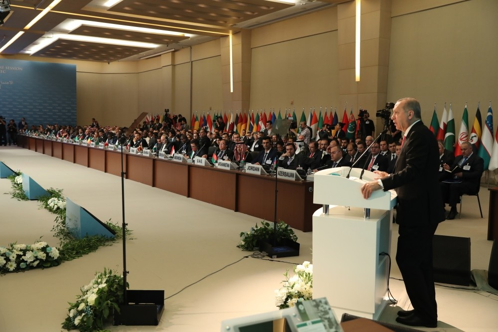 President Recep Tayyip Erdou011fan speaking during the 34th session of the COMCEC in Istanbul, yesterday.