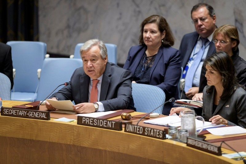 In this photo provided by the United Nations, UN Secretary-General Antu00f3nio Guterres, left, delivers remarks Monday, Sept. 10, 2018, at a Security Council meeting on maintenance of international peace and security. (AP Photo)