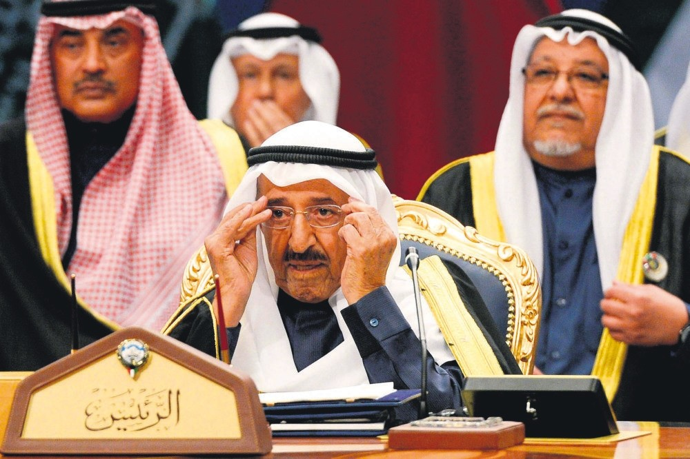 Kuwaiti Emir Sheikh Sabah al-Ahmed al-Sabah (C) chairs the 38th Gulf Cooperation Council (GCC) Summit at Bayan Palace, Kuwait City, Dec. 5.