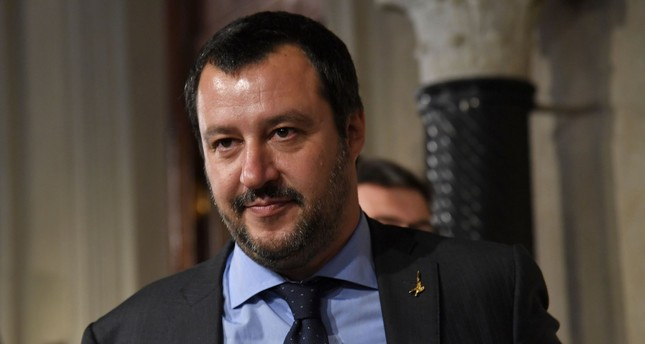Matteo Salvini, leader of the far-right party Lega (League) speaks to the press at the Quirinale palace, Rome, May 14.