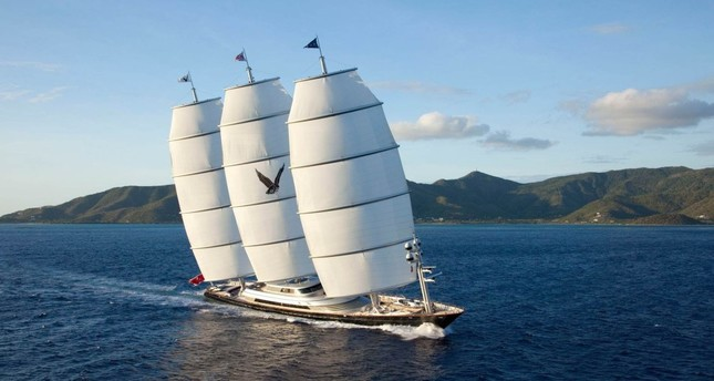 World-famous superyacht Maltese Falcon on voyages off Marmaris coast