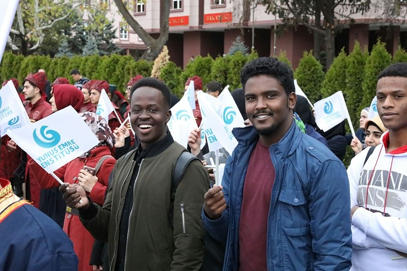 Foreign students attending Oct. 29 Republic Day celebrations in the Turkish capital Ankara (AA Photo)