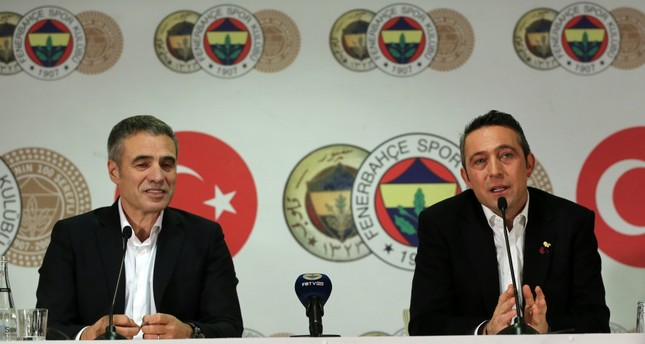 Ersun Yanal (L) and Ali Koç speak at a press conference and signing ceremony, Dec. 18.