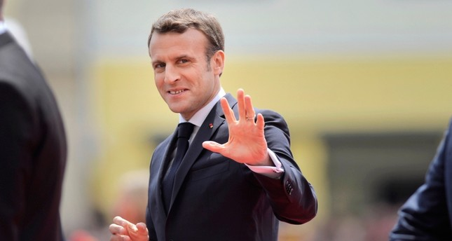 French President Emmanuel Macron arrives for an EU summit in Sibiu, Romania, Thursday, May 9, 2019. (AP Photo)