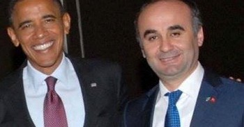 This undated file photo shows Barack Obama with Kemal Öksüz in an event.