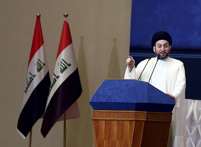 Ammar al-Hakim, a Shiite leader, speaks during Eid al-Adha prayers in Baghdad, Iraq, Saturday, Sept. 2, 2017. (AP Photo)