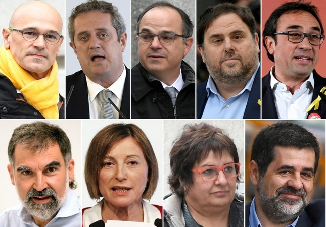 This combination of file pictures created on October 26, 2018 shows jailed Catalan separatist leaders (TOP L-R) Romeva, Forn, Turull, Junqueras, Rull (BOTTOM L-R) Cuixart, Forcadell, Bassa and Sanchez. (AFP Photo)