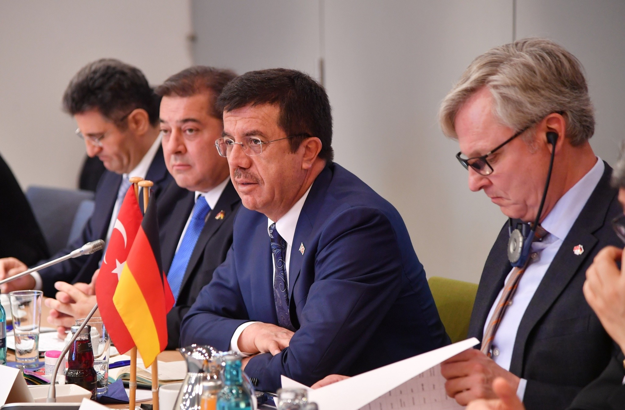Turkish Economy Minister Nihat Zeybeku00e7i (L) speaks during a meeting with his German counterpart Brigitte Zypries (R) on May 8, 2017. (AA Photo)