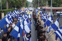 Greeks burn Turkish Cypriot flag during foundation celebrations