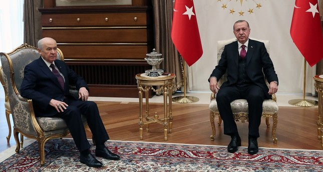 President Recep Tayyip Erdoğan met with MHP Chairman Devlet Bahçeli in Ankara, yesterday.
