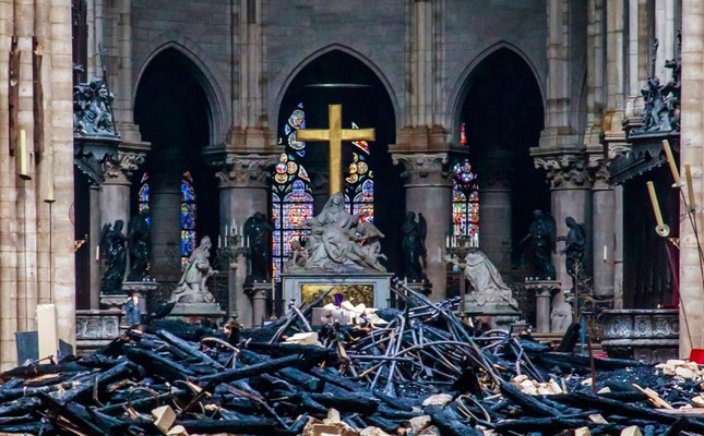 Debris are seen inside Notre Dame cathedral in Paris, Tuesday, April 16, 2019. (Pool via AP)
