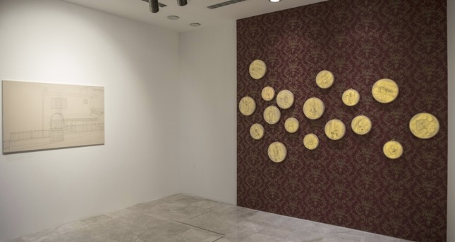 Of the 21 works by Damla Yalçın, 17 are on hoops and the rest on canvasses.