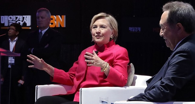 This handout photo taken and provided by Maeil Business Newspaper on October 18, 2017 shows former U.S. Secretary of State Hillary Clinton speaking at the World Knowledge Forum in Seoul. (AFP Photo)