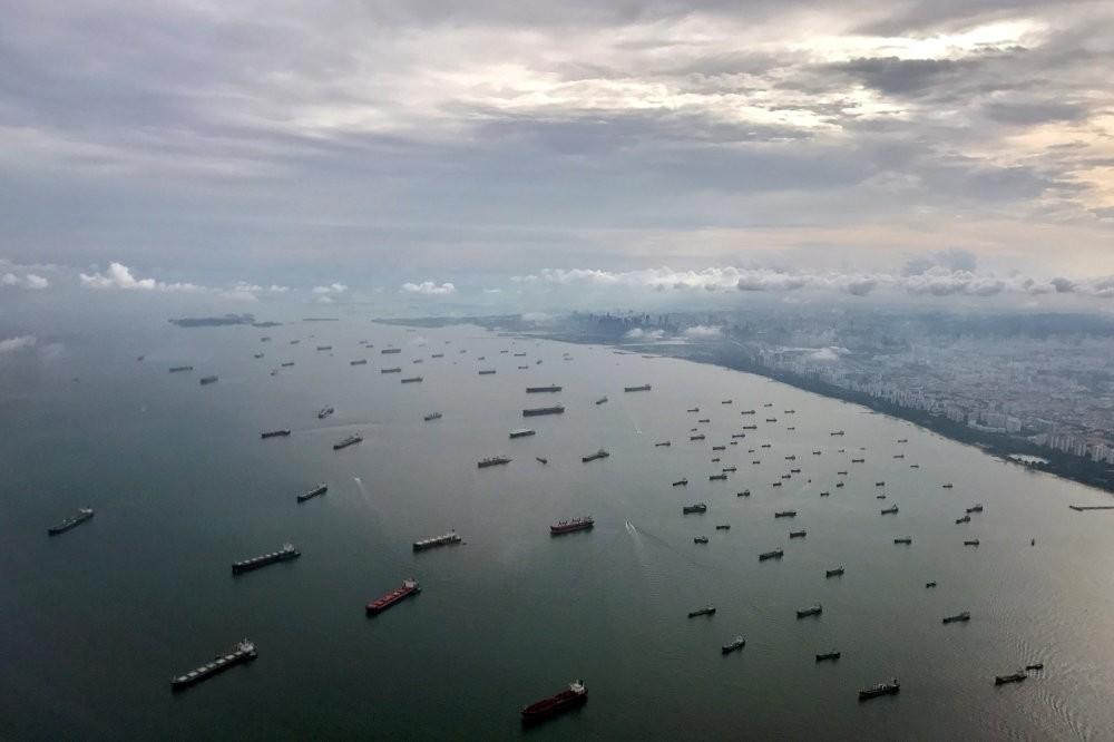 A bird's-eye view of ships along the coast, Singapore, July 9, 2017.