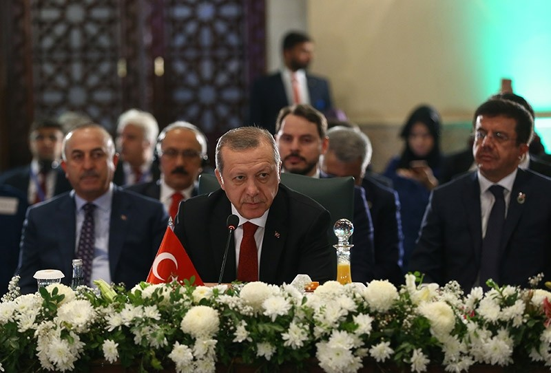 Erdou011fan makes a speech during the 13th Economic Cooperation Organization (ECO) Summit in Islamabad, Pakistan, March 1, 2017. (Reuters Photo)