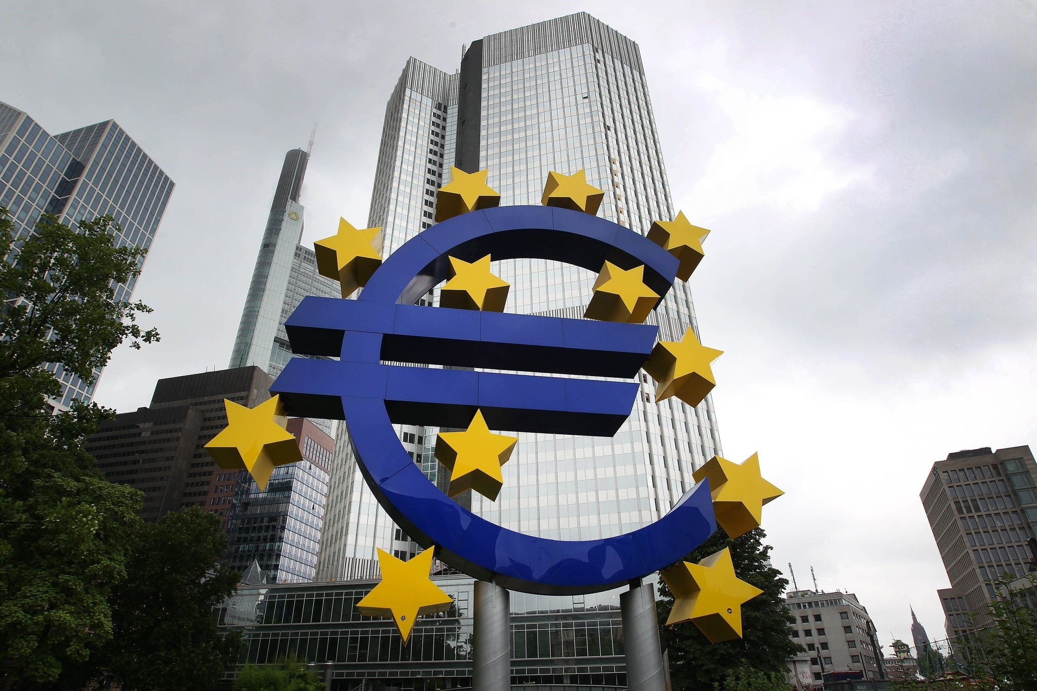 The Euro logo is pictured in front of the former headquarter of the European Central Bank (ECB) in Frankfurt am Main, western Germany, on July 20, 201