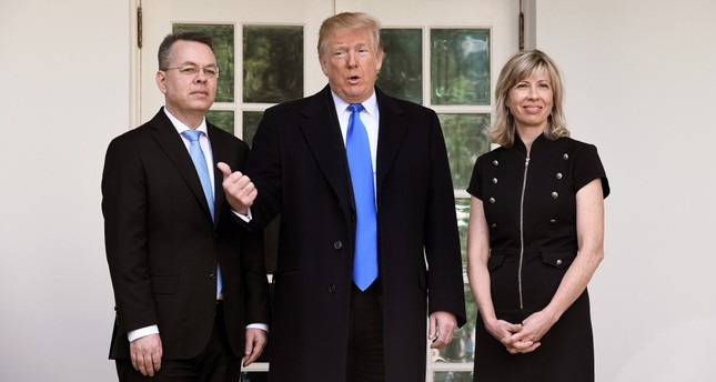 Following his release by a Turkish court, pastor Andrew Brunson (L), was greeted at the White House with his wife Norine Brunson (R), upon the invitation of U.S. President Donald Trump, Oct. 13.
