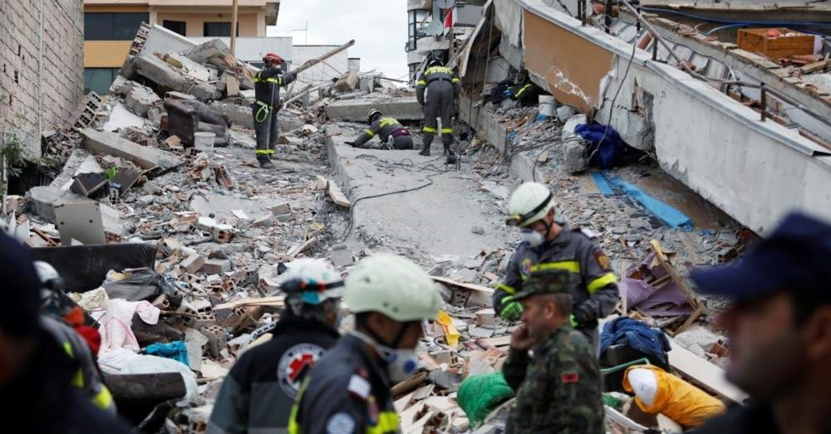 Emergency personnel search for survivors in a collapsed building, Durres, Nov. 28, 2019. (Reuters Photo)