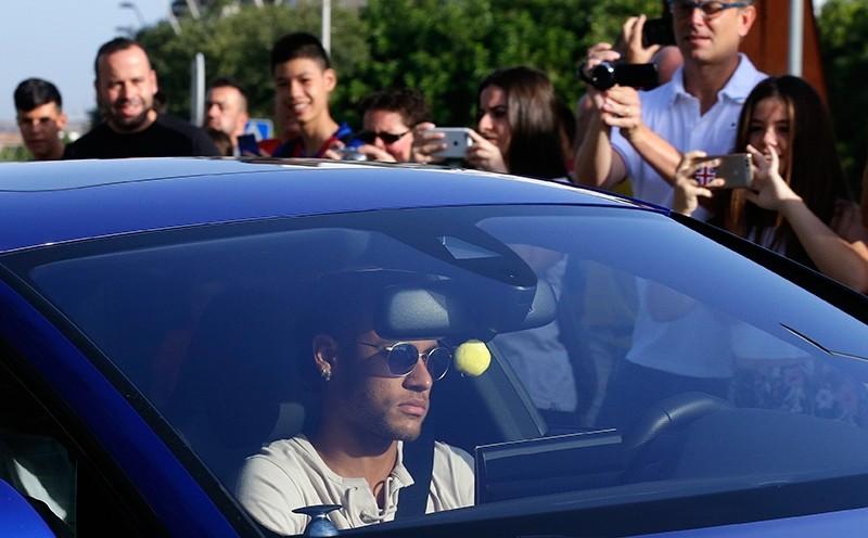 FC Barcelona's Neymar arrives at the Sports Center FC Barcelona Joan Gamper in Sant Joan Despi, Spain, Wednesday, Aug. 2, 2017. (AP Photo)