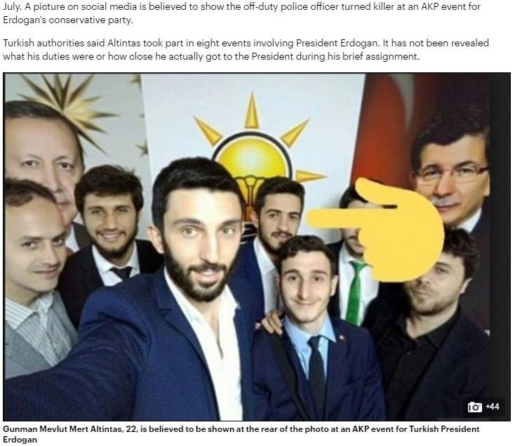 Screenshot shows Çetin's photo inside Daily Mail's article