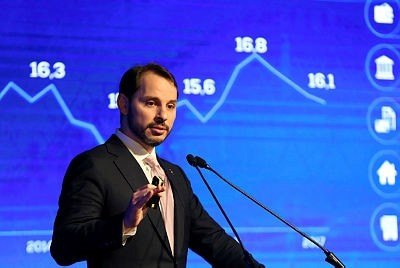 Turkish Treasury and Finance Minister Berat Albayrak speaks during a presentation to announce medium-term economic programme in Istanbul, Turkey September 20, 2018. (Reuters Photo)