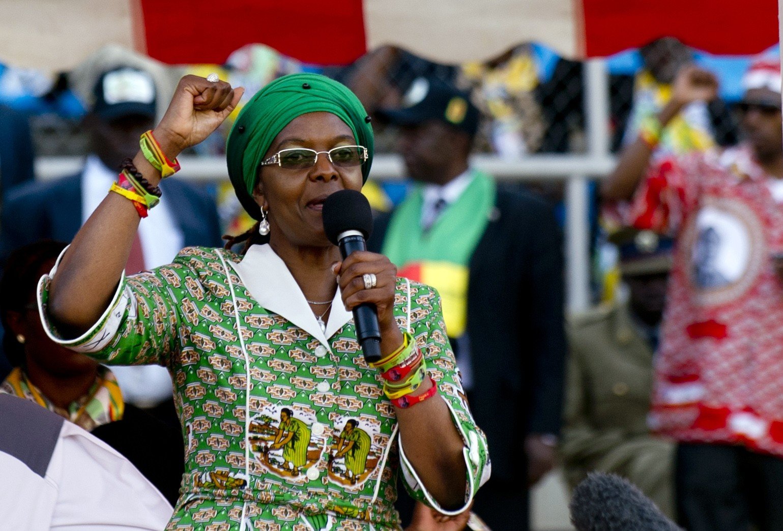 This file photo taken on July 28, 2013 shows Zimbabwean President's wife, Grace Mugabe raising her fist as she speaks during a rally in Harare. (AFP Photo)