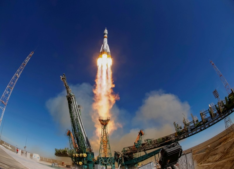 Soyuz MS-10 spacecraft carrying the crew of astronaut Nick Hague of the U.S. and cosmonaut Alexey Ovchinin of Russia blasts off to the International Space Station (ISS) from the launchpad in Kazakhstan, 11 Oct., 2018. (Reuters Photo)