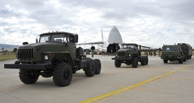 A handout photograph taken and released on July 12, 2019, by the Turkish Defence Ministry shows a Russian military cargo plane carrying S-400 missile defence system from Russia to the Murted Military Airbase (File Photo)