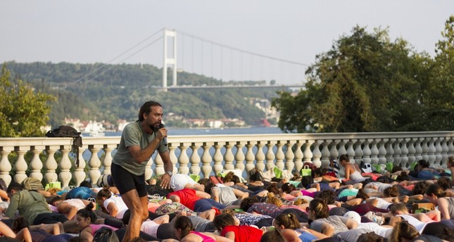 Yoga session with a Bosporus panorama