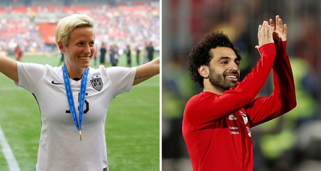AFP photo of Megan Rapinoe L and Reuters photo of Mohamed Salah R