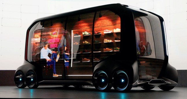 Toyota Motor Corporation displays the 'e-Palette', a new, fully self-driving, electric concept vehicle designed to be used for ride hailing, parcel delivery services and other uses at CES in Las Vegas.