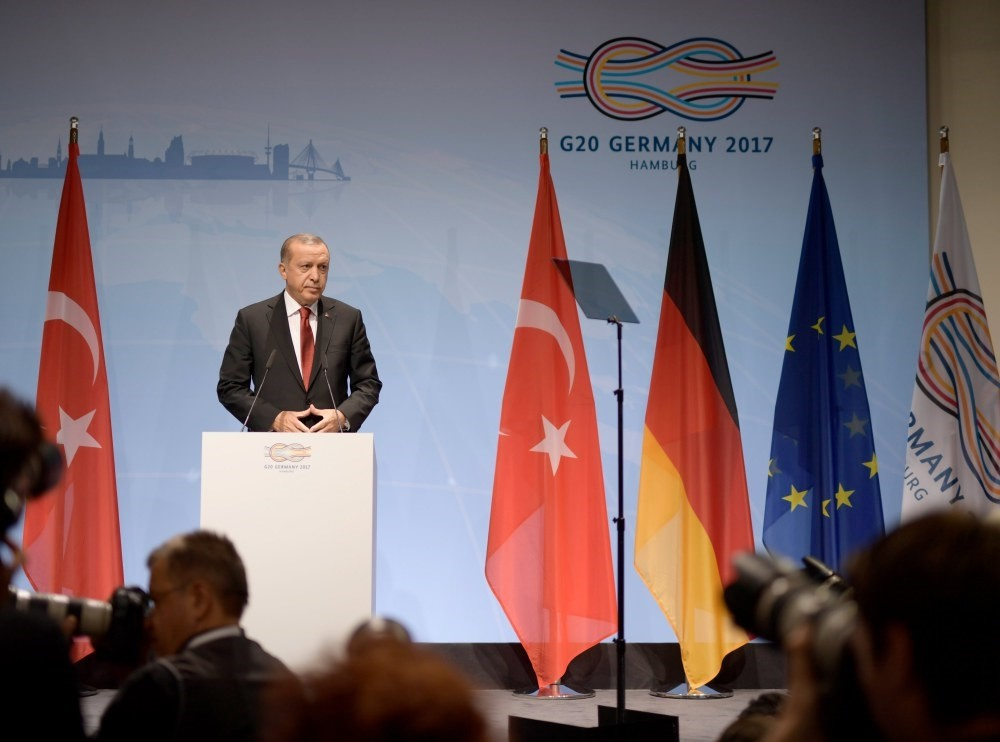 President Erdou011fan speaks at the closing press conference of the G20 Summit in Hamburg, July 8.