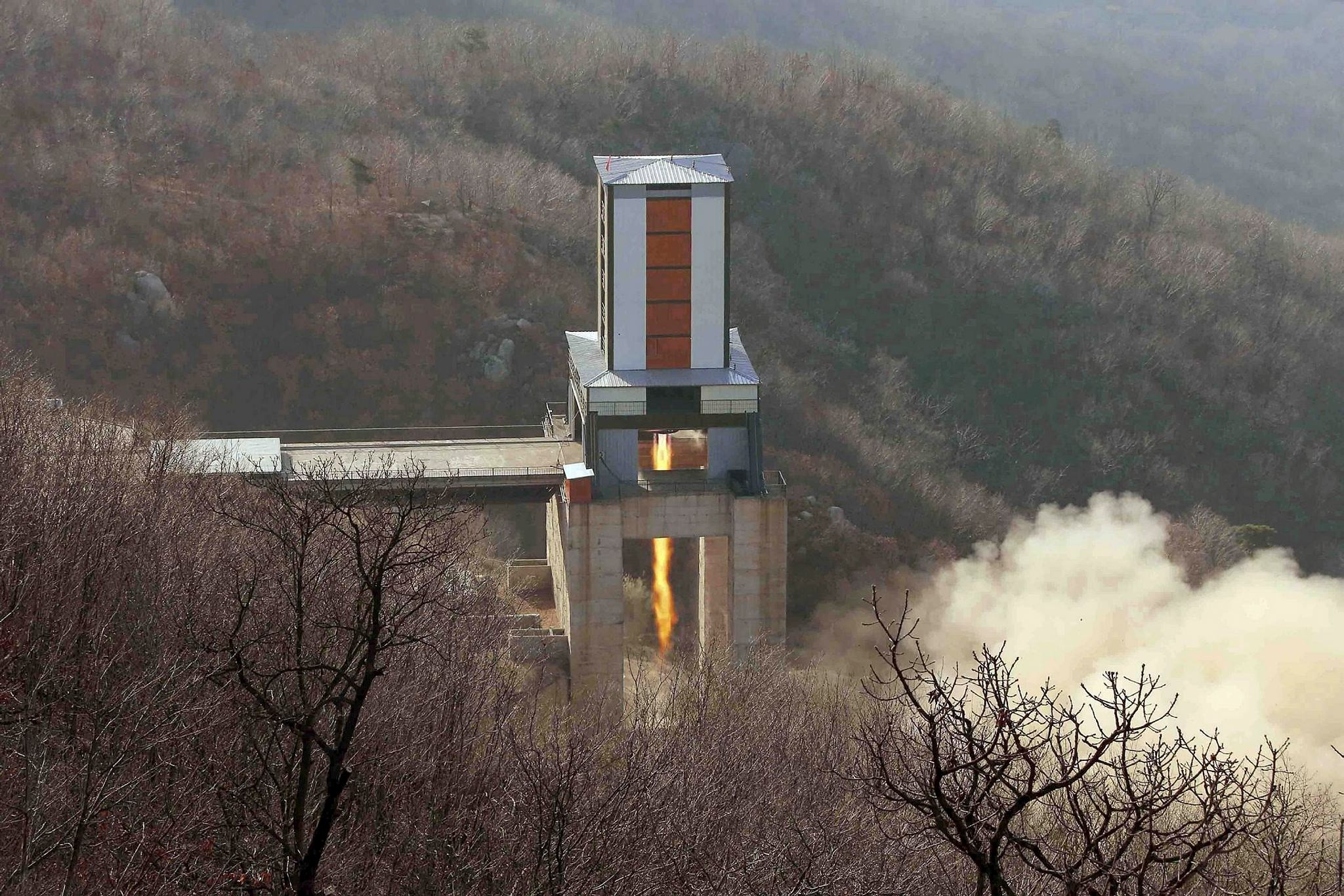 A new engine for an intercontinental ballistic missile (ICBM) is tested at a test site at Sohae Space Center in Cholsan County, North Pyongan province in North Korea in this undated photo released by KCNA on April 9, 2016.